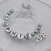 2018 Personalised Wine Glass Charm